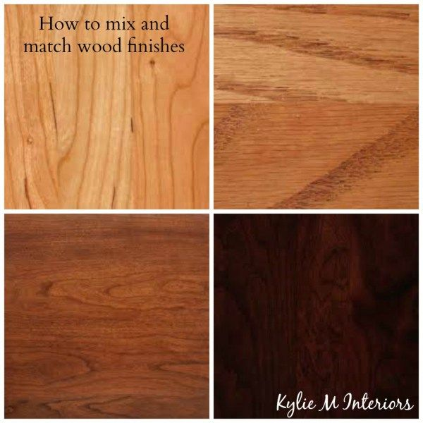 how to mix and match wood stains like cherry, oak, maple, pine on cabinets, flooring and furniture pieces