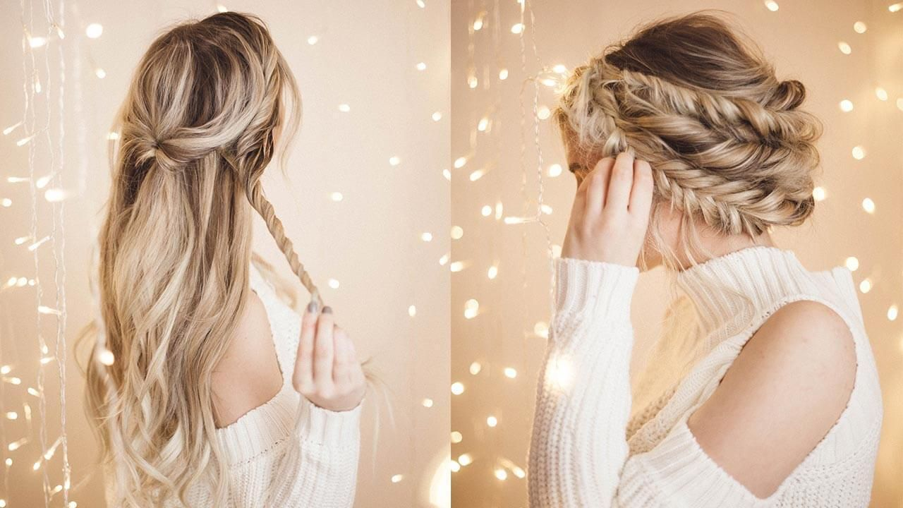 Braided Halo Hairstyle Easy Updo For Long Hair Braided Halo Hairstyle Long Hair Updo Braided Hairstyles Updo