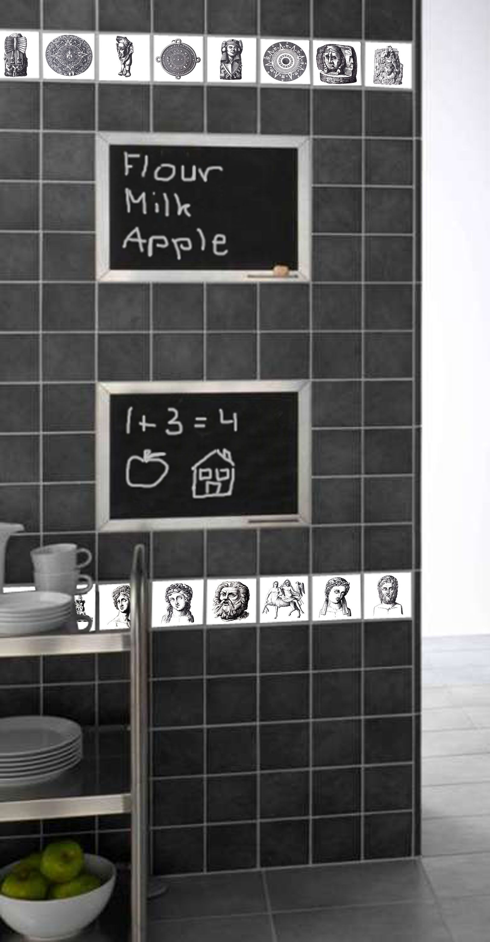 Blackboard tiles are practical and decorative.