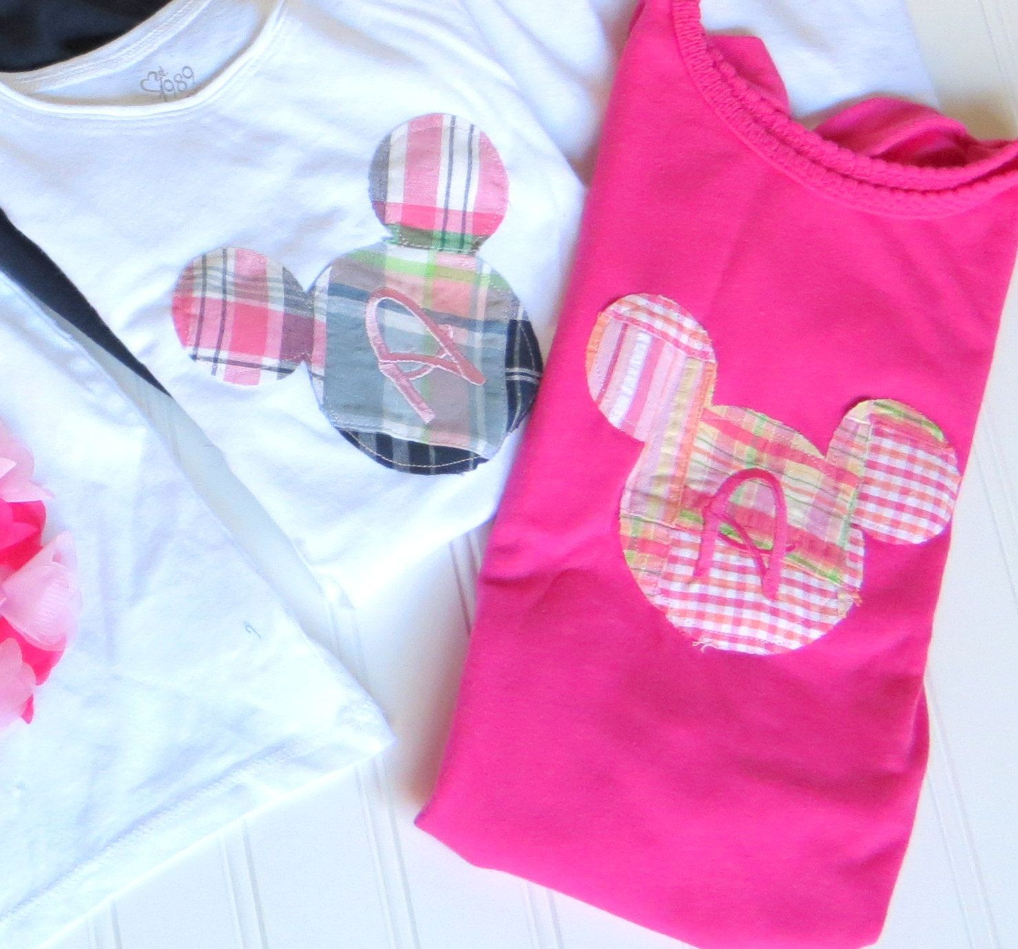 Mickey or Minnie Mouse Custom Cutie Fabric Appilque Shirt with Initial. $20.00, via Etsy.