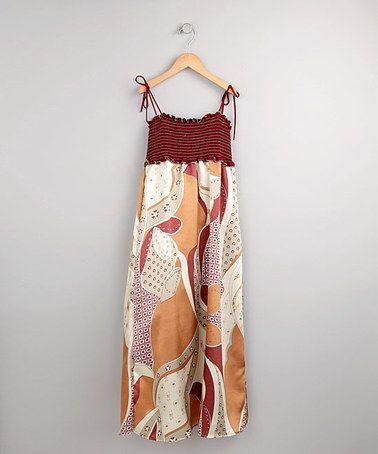 Another great find on #zulily! KoKo Khaki Smocked Print Maxi Dress - Girls #zulilyfinds