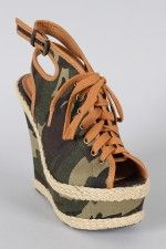 Qupid Kunis-26 Camouflage Lace Up Peep Toe Platform Wedge