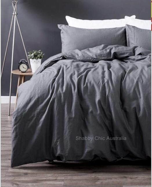 1 Queen Size Doona Or Qu Ilt Cover Duvet Cover The Top Side Of The Cover Is Linen And The Under Grey Comforter Bedroom Bed Linens Luxury Comfortable Bedroom