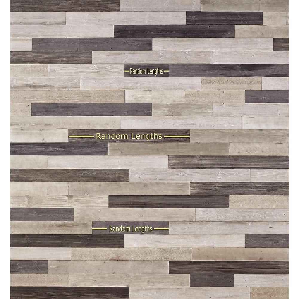 Nuvelle Decowall Gray 1 4 In T X 5 In W X Varying Length Peel Stick Solid Hardwood Flooring Wall Plank 13 Sq Ft Case Nv1dw The Home Depot Wood
