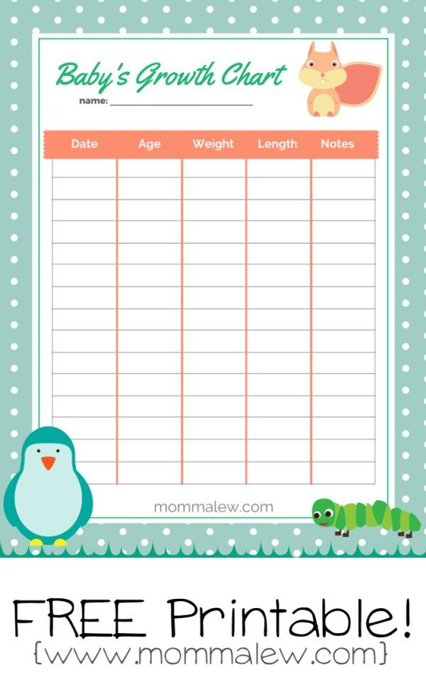 Free Babyu0027s Growth Chart Printable | By Momma Lew