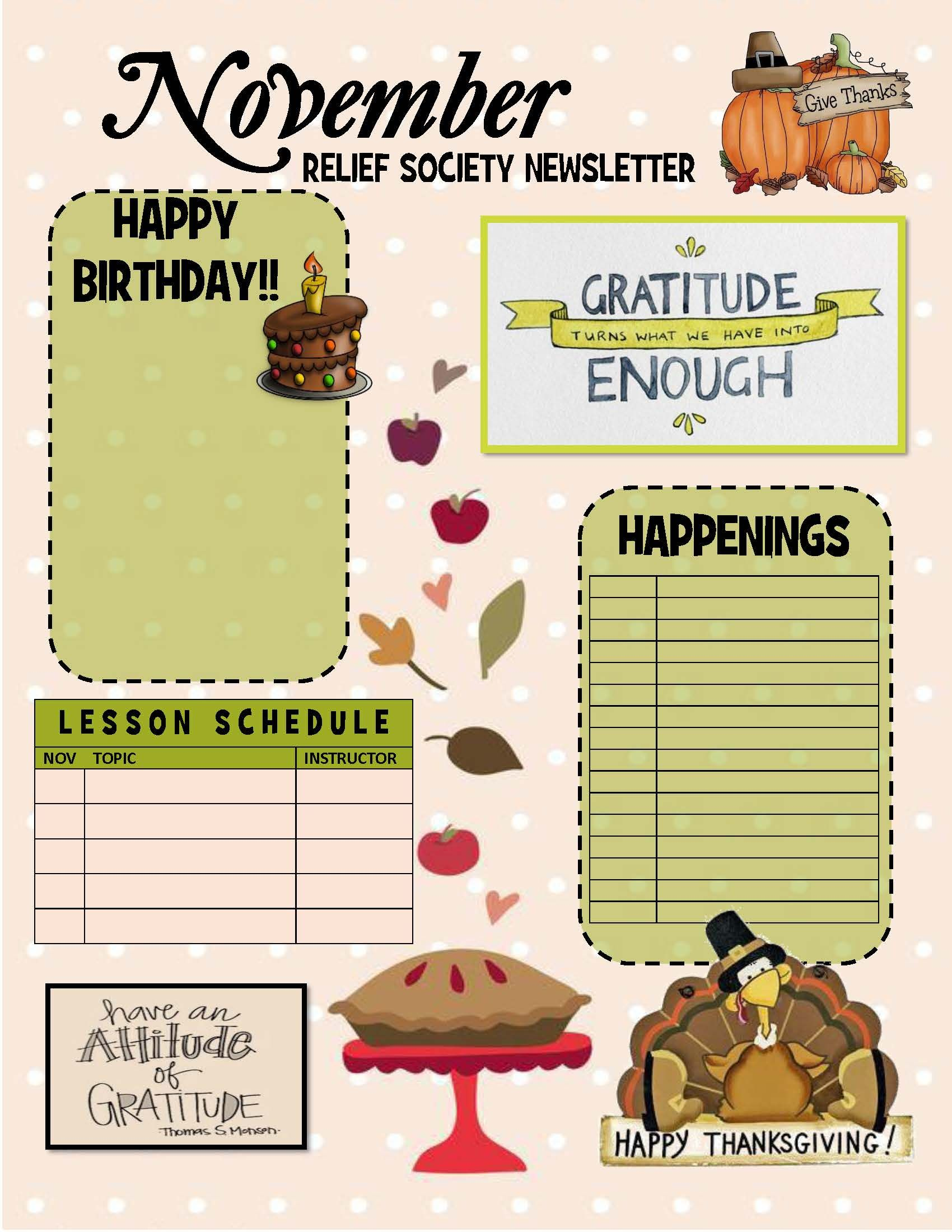 November Relief Society Newsletter Template Relief Society Lds