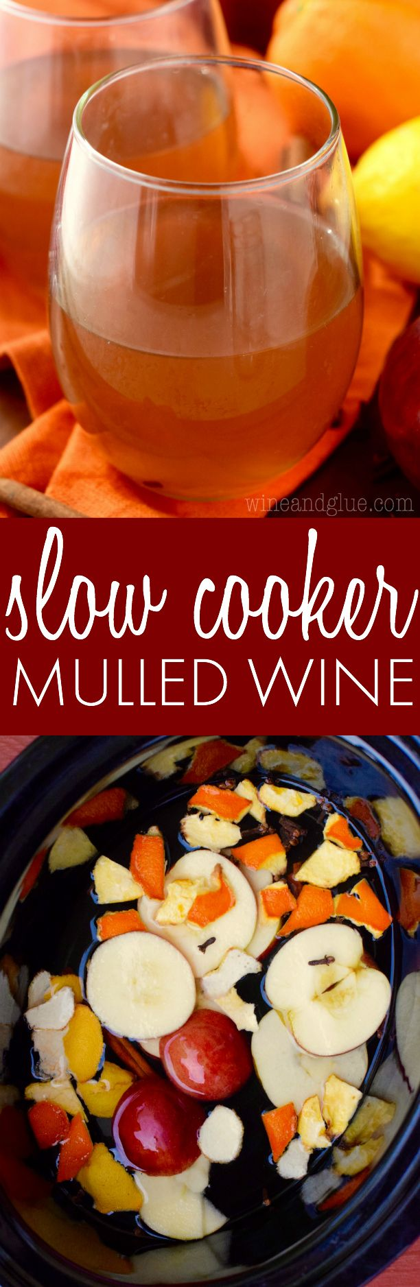 This Slow Cooker Mulled Wine comes together in your crock pot with a little white wine and some easy to find ingredients! So delicious and perfect for the holidays and cool weather!