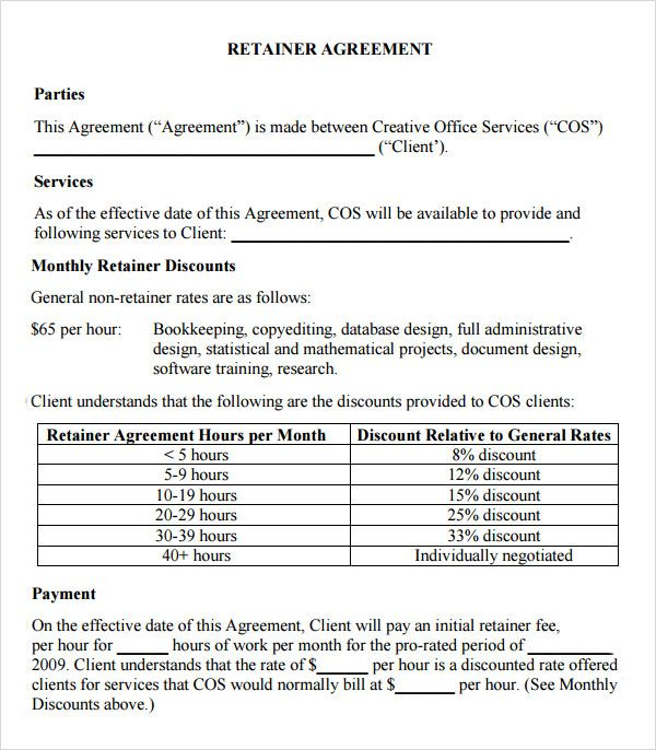 sample retainer agreement template pinteres