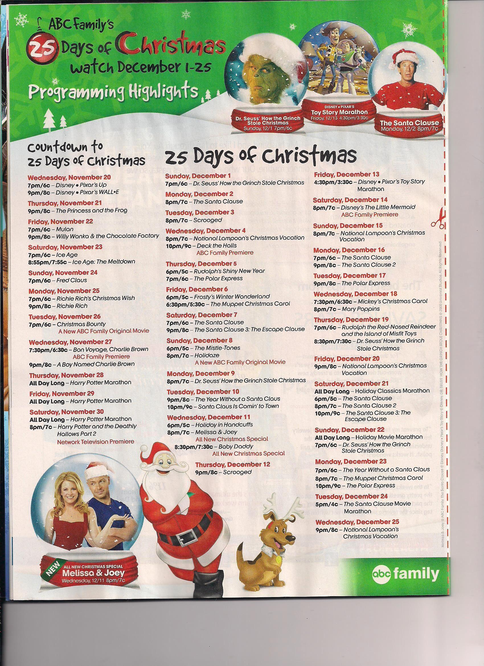 Abc Family Christmas.Abc Family Christmas Movie Listing Christmas Activities