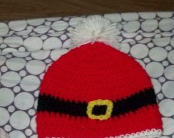 Artículos similares a Sombrero del ganchillo Santa gorro con orejeras - adultos en Etsy