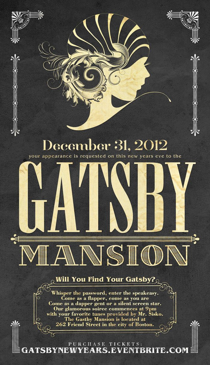 The Gatsby Mansion New Years Eve Party Eventbrite – Great Party Invitations