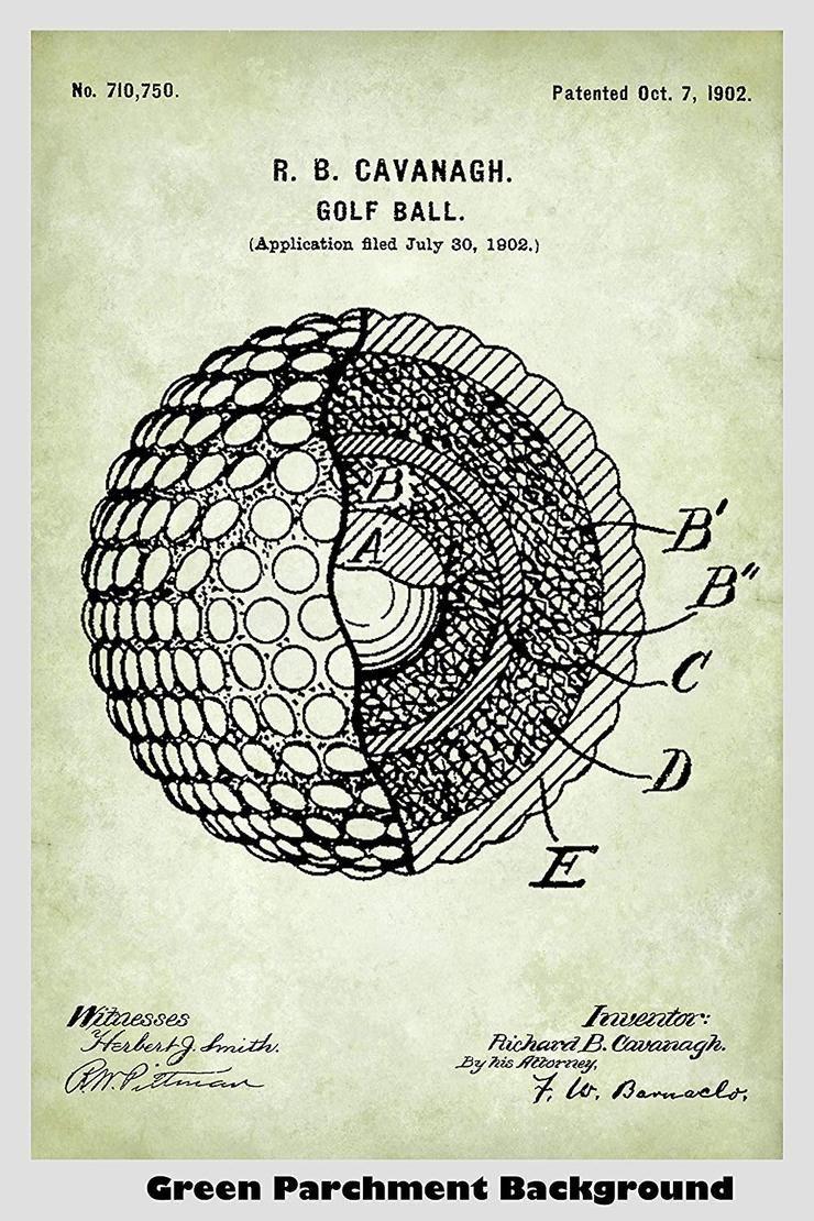 Golf ball patent print art poster patent prints poster