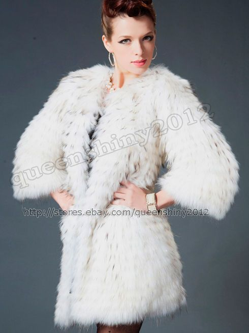 100% Real Genuine Deluxe Raccoon Fur Coat Jacket Wearcoat Long Vintage Fashion #Queenshiny #BasicCoat
