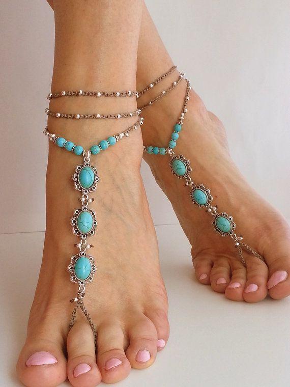 Beach Wedding Barefoot Sandals Blue Turquoise Stone Hippie BOHO Bridal Accessories