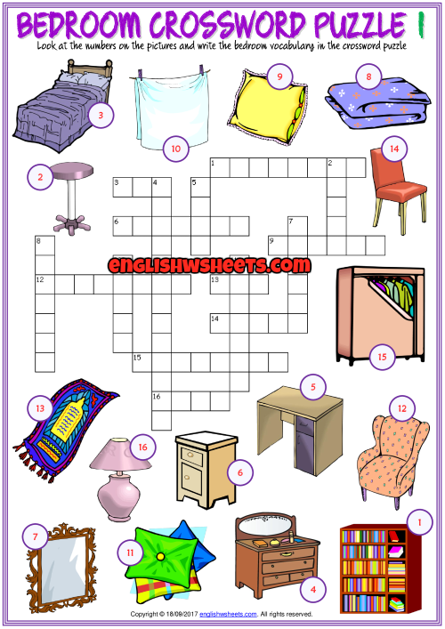 Bedroom Crossword Puzzle ESL Printable Worksheets ...