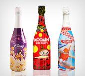 Lapsille omat alkoholittomat kuplajuomat. Yhdeksän eri teemaa ja kuusi eri makua, nam! #hopottajat #lastenjuhlajuomat