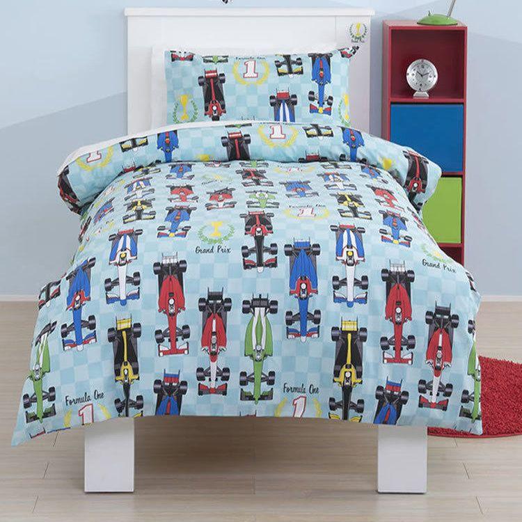 Kids Race Cars Bedding F 1 Formula Full Duvet Cover X2f Comforter Cover Set Blue Grand Prix