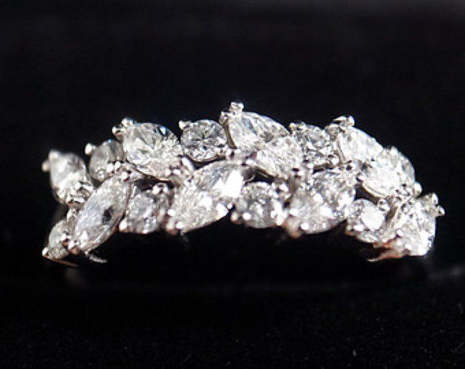 Marquise Diamond Half Eternity Wedding Band in 14K White Gold
