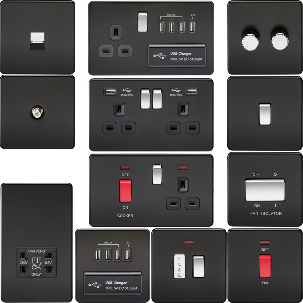 Screwless Flat Plate Electrical Light Switches & Plug Sockets Matt ...