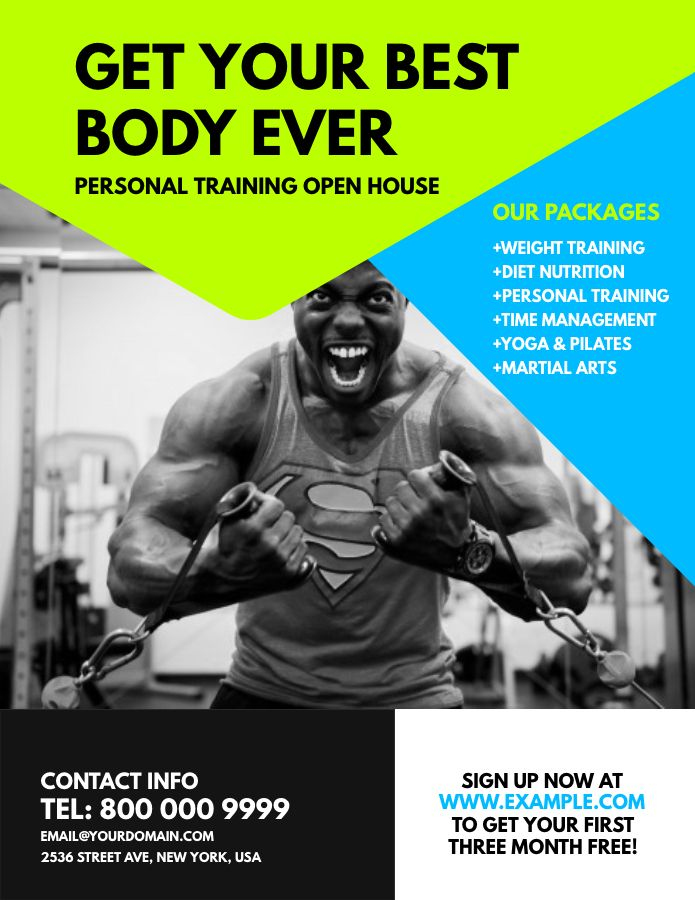 Gym Ad Poster Flyer Social Media Graphic Design Template Fitness