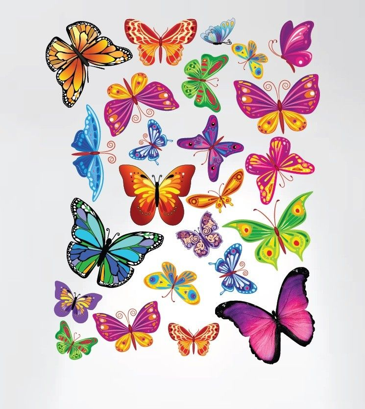 Easy Peel and Stick Colorful Butterflies Nursery Wall