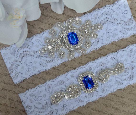 Wedding Garter Songs: Royal Blue Wedding Garter Set, Vintage Garter Set