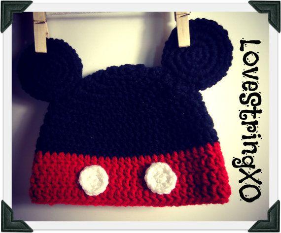 Disney Mickey Mouse Crochet Beanie / Photo Props Beanie / Etsy Baby ...