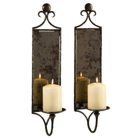 I Pinned This Millicent Wall Sconce Candle Holder Set Of 2 From The 55th Street Designs Event At Joss Mirrored Wall Sconce Candle Mirror Mirror Candle Sconce