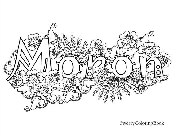 Moron Swear Words Coloring Page From The By
