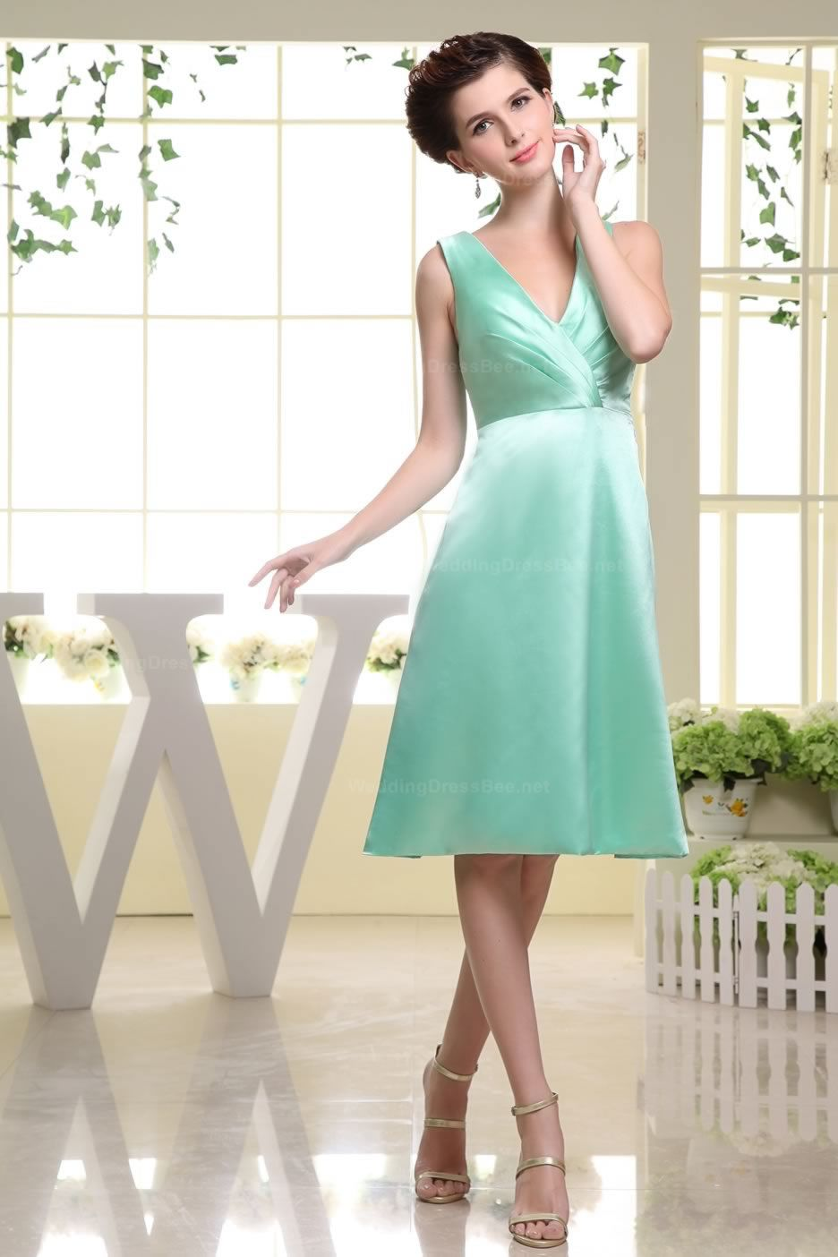 Elegant v-neck a-line knee length straight cut hemed dress ,US ...