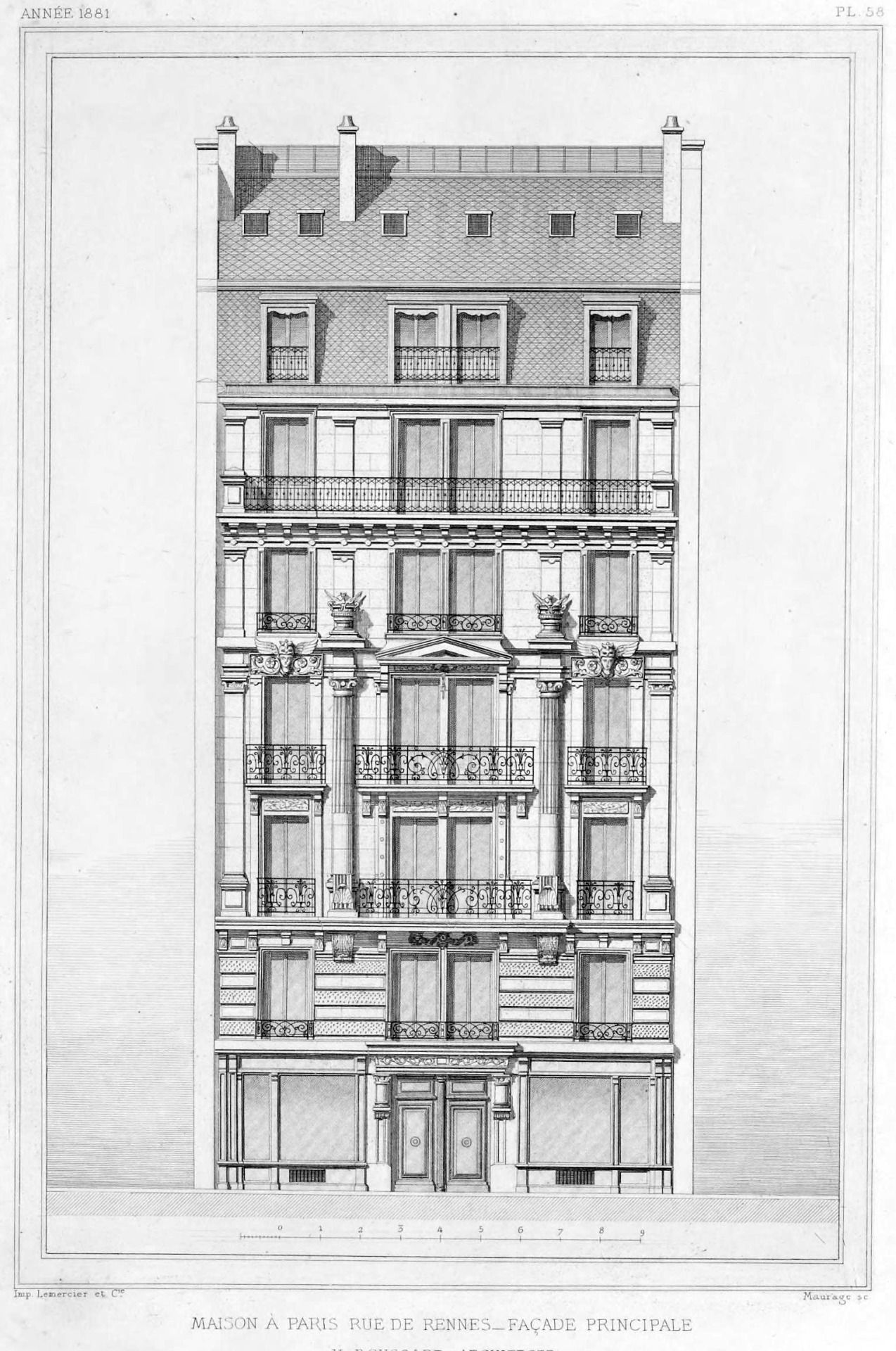 Elevation of a residential building on rue de rennes for Residential architectural drawings