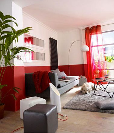 Comment apporter de la couleur dans le salon facilement salons living rooms and interiors - Peinture gris rouge ...