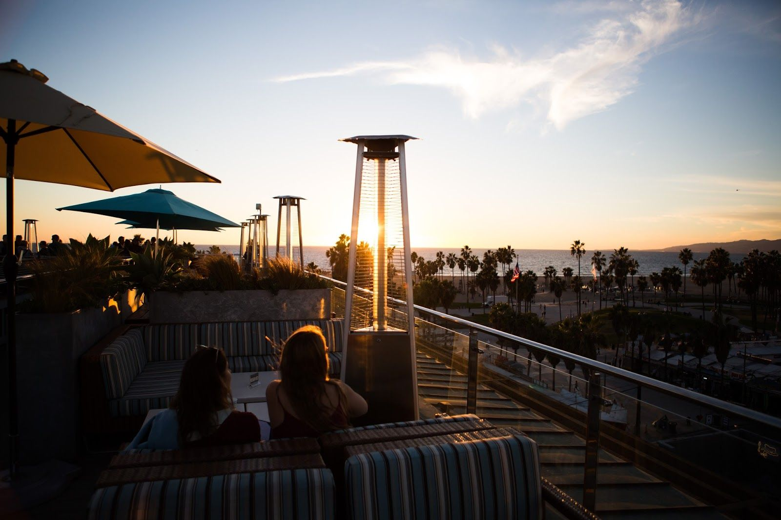 Sunset view of Venice Beach from High Rooftop Lounge in Venice Beach, Ca.