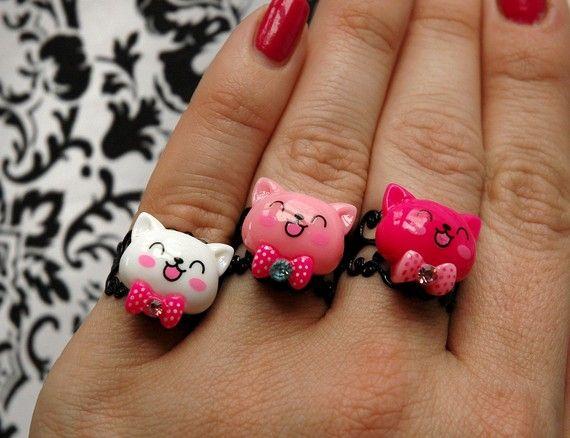 anillo gatito porcelana fria fimo