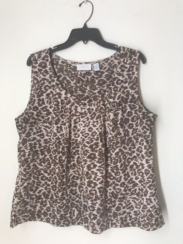 16b10a5153563f chicos size 3 Printe Animal Cheetah Tank Top  fashion  clothing  shoes   accessories  womensclothing  tops (ebay link)