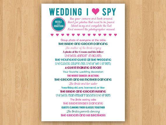 Diy Printable Wedding I Spy Wedding Ideas Wedding Wedding Guest