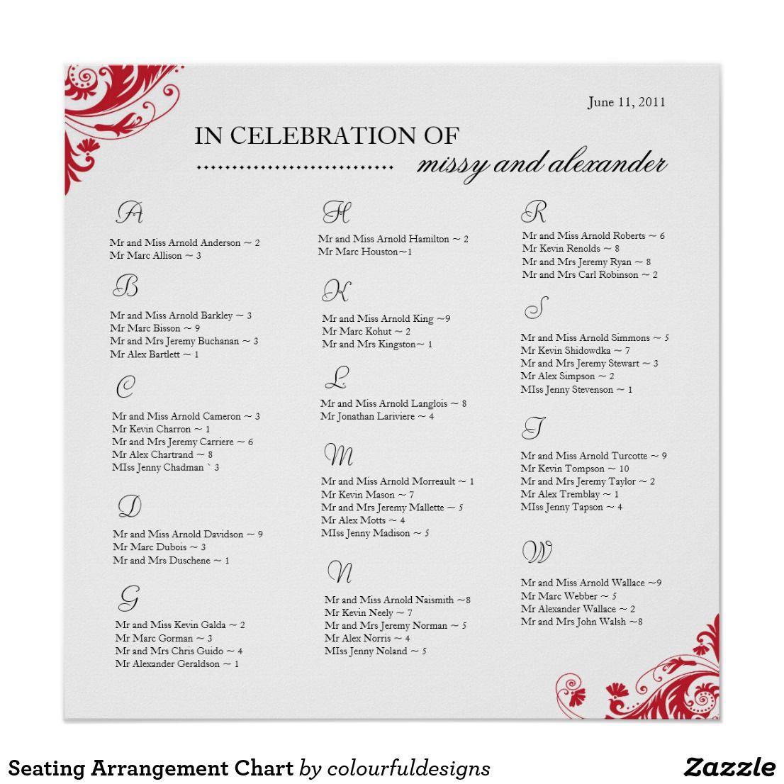 Seating Arrangement Chart | Zazzle.com