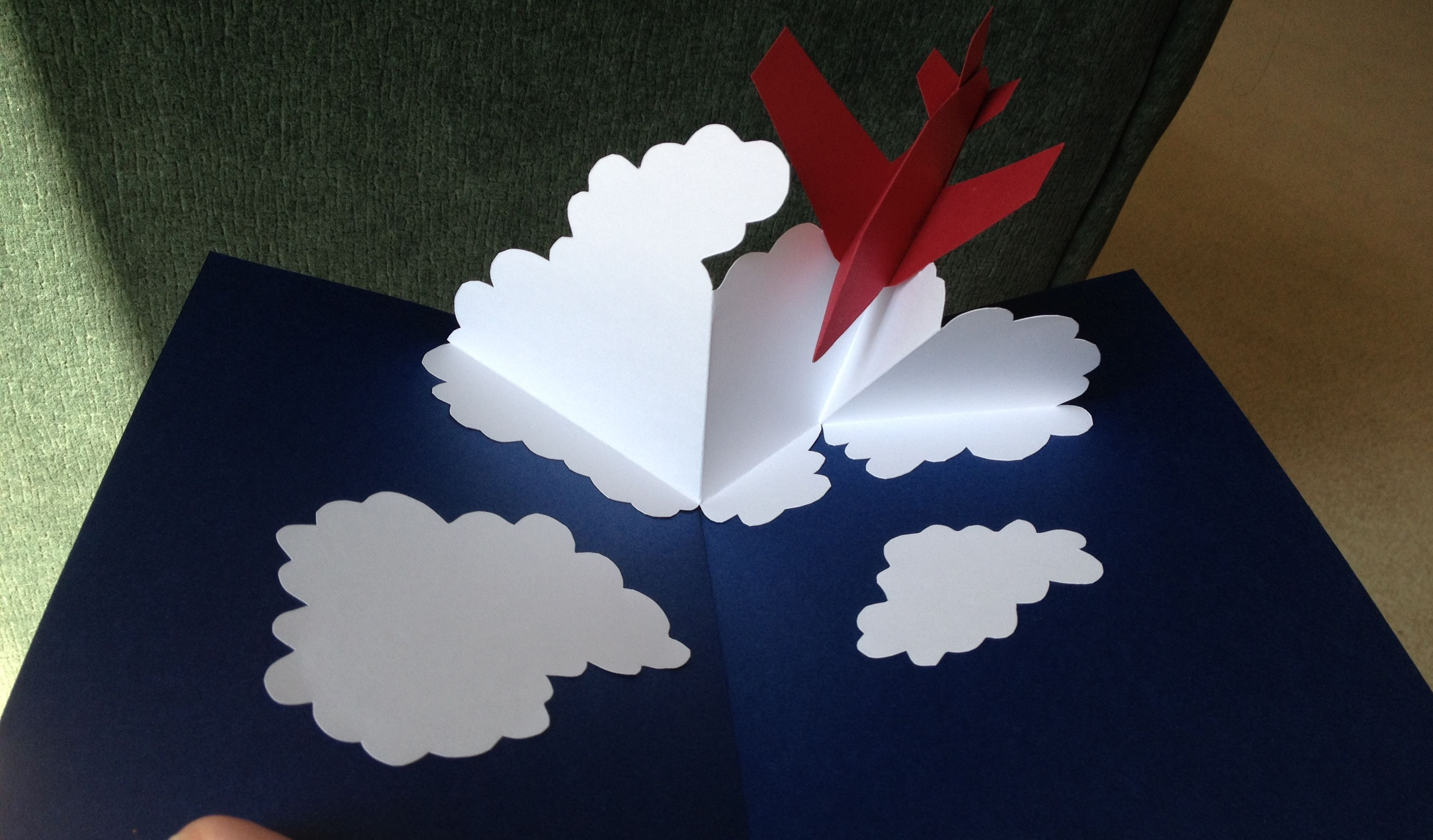 Airplane In The Clouds Pop Up Card Template From Pop Up Design