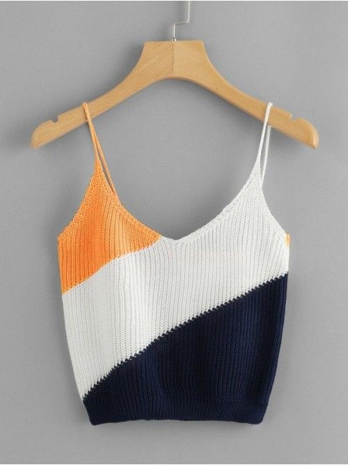 Casual Cami Regular Fit V Neck and Spaghetti Strap Multicolor Crop Length Color Block Knit Cami Top