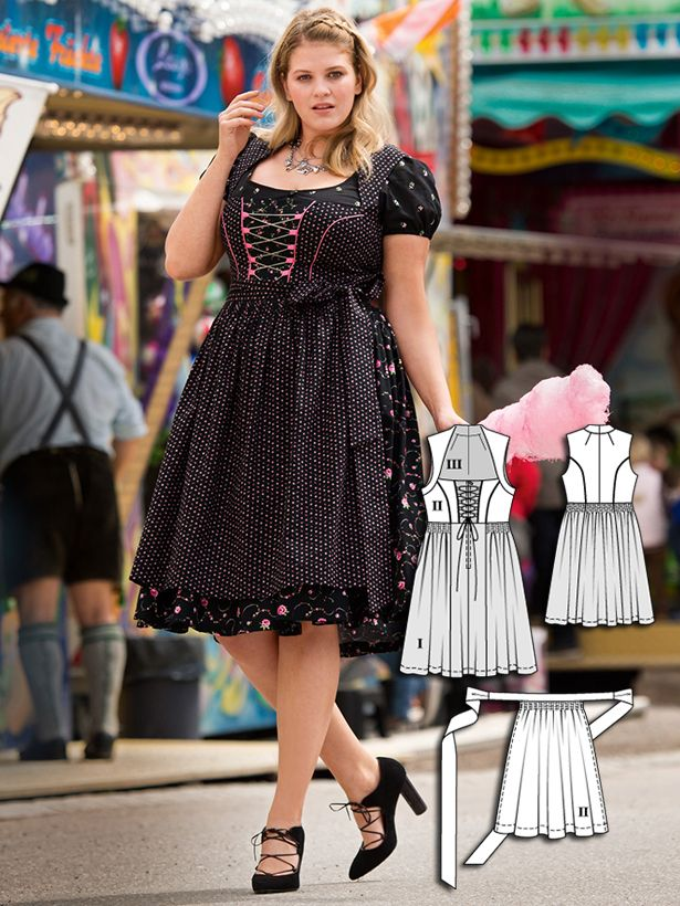 Plus Size Dirndls: 10 New Women\'s Plus Size Sewing Patterns | Dirndl ...