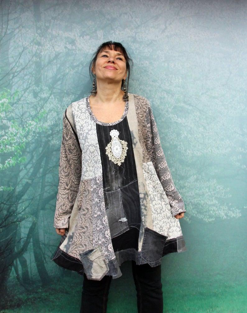 XL-XXL Plus size crazy recycled hooded coat grey denim pop art hippie boho