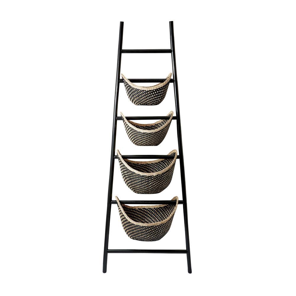 Titan lighting black plaid in x in rattan ladder basket in