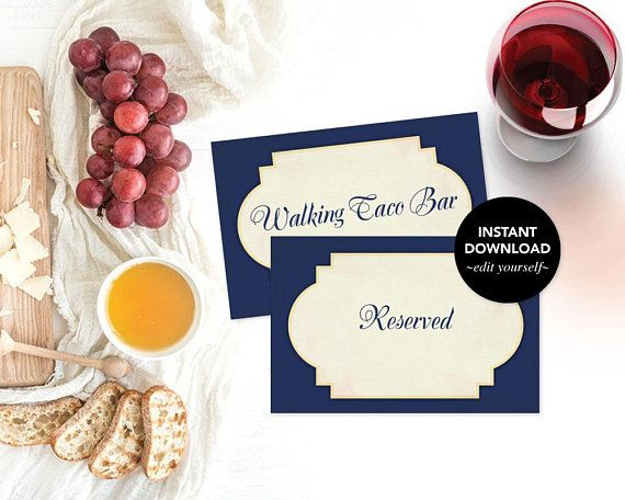 Reserved Sign Wedding Decor Wedding Reserved Table Sign Food Tent Printable Place Cards Bridal Shower Dec Food Tent Girl Shower Invitation Reserved Signs