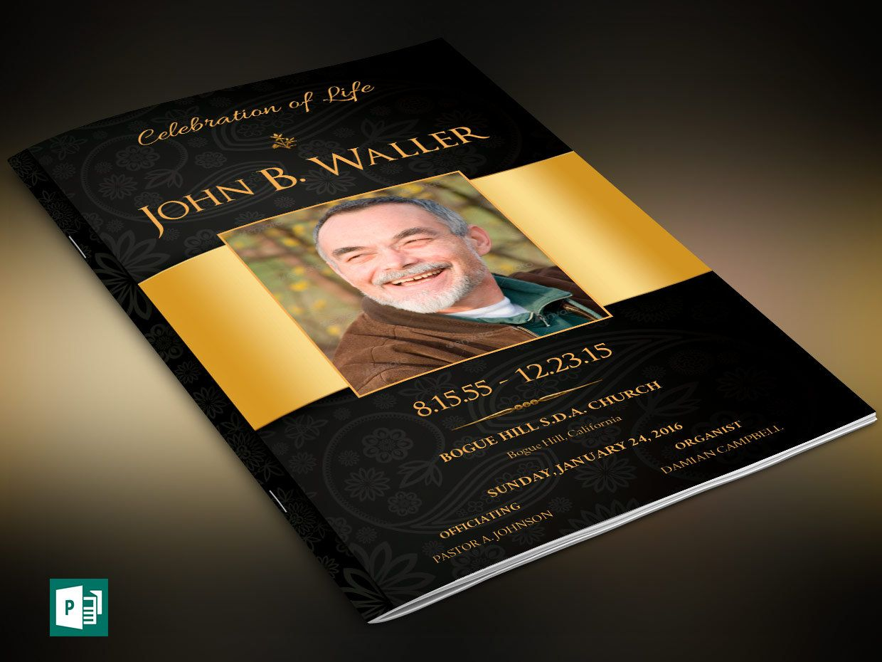 Black Gold Dignity Funeral Program Publisher Template is created in ...