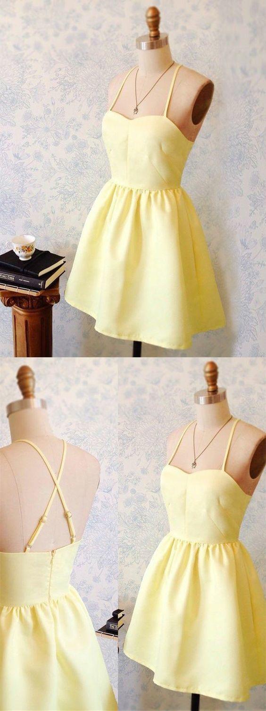 Aline spaghetti straps short yellow satin homecoming dress