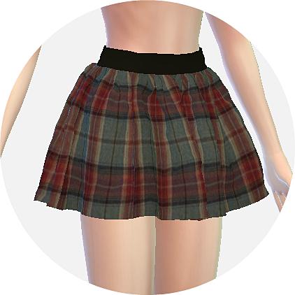 SIMS4 marigold: pattern flare mini skirt_v2_checked_패턴 플레어 미니 스커트 체크 패턴 버전_여성 의상