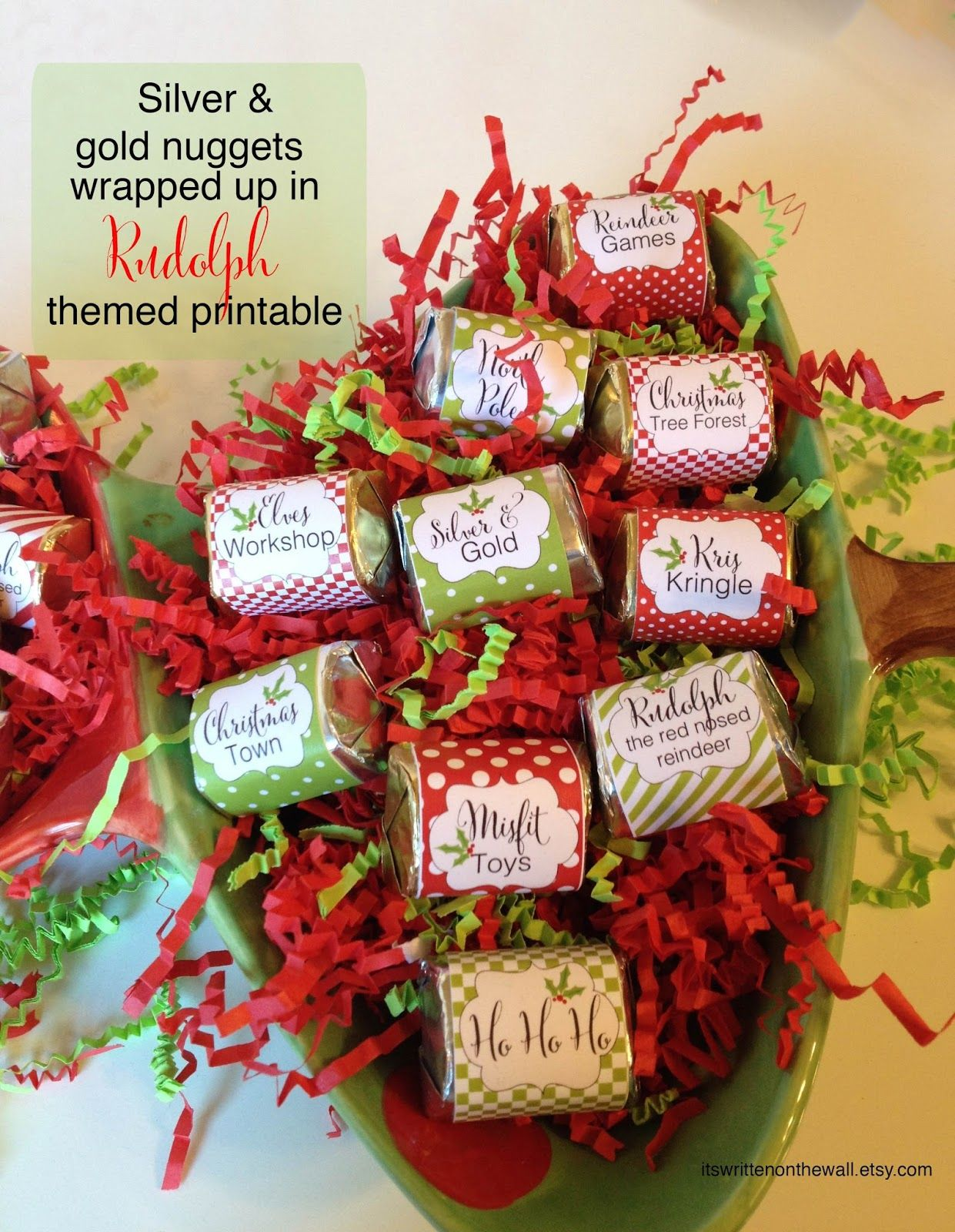 christmas candy wraps for christmas party favors stocking stuffers classroom treats etc rudolph theme