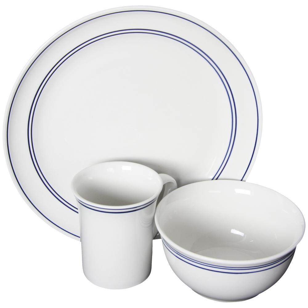 Gibson Home Porto 12 Piece Blue Banded Dinnerware Set 985100254m