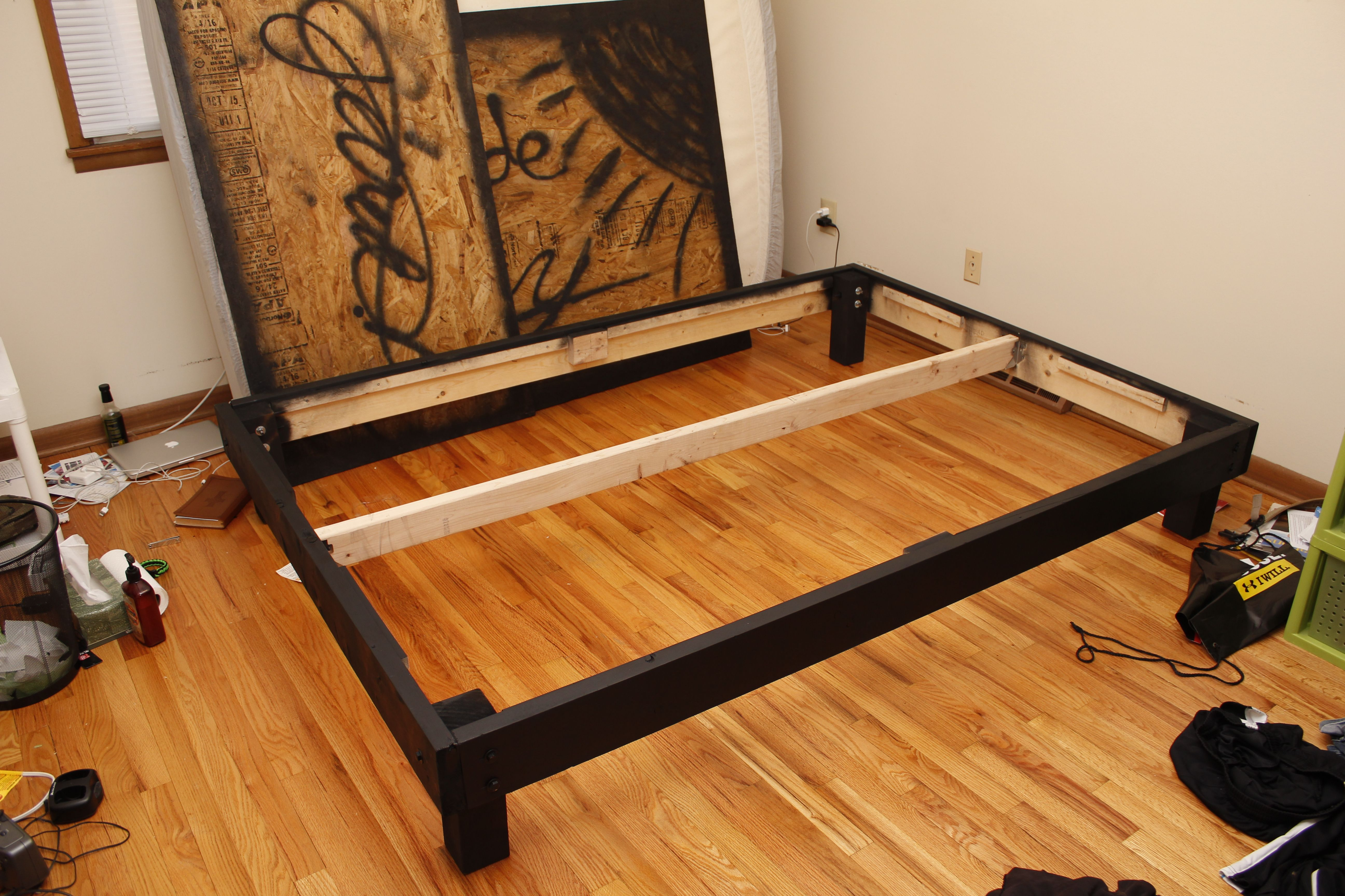 Build a queen size platform bed on the cheap and learn