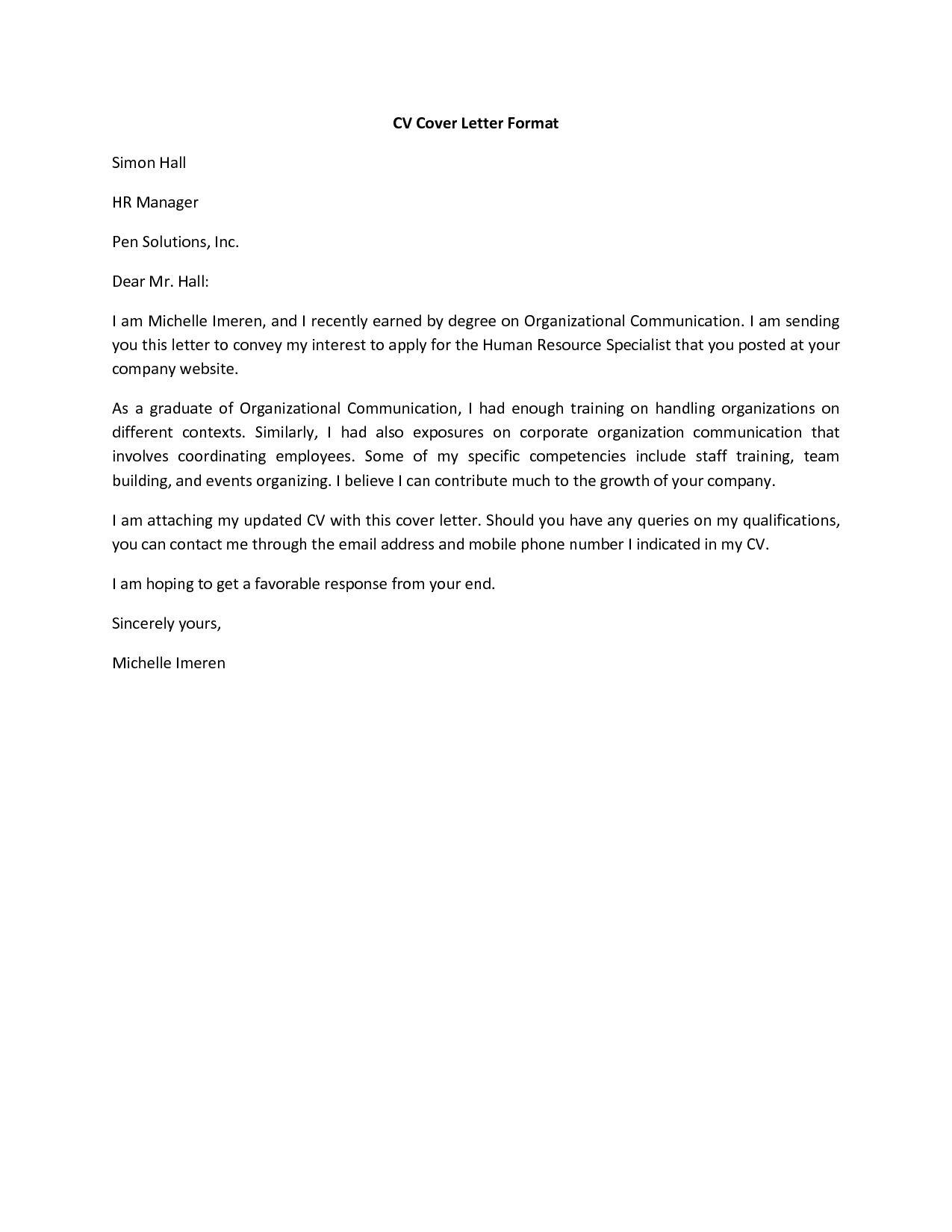 simple cover letter for cv